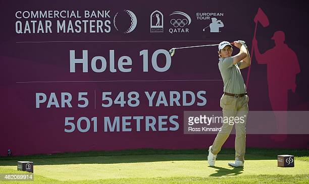 Eddie Pepperell of England on the 10th tee during the final round of the Commercial Bank Qatar Masters at the Doha Golf Club on January 24 2015 in...