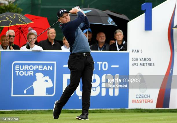 Eddie Pepperell of England on the first tee during the third round of the DD REAL Czech Masters at Albatross Golf Resort on September 2 2017 in...