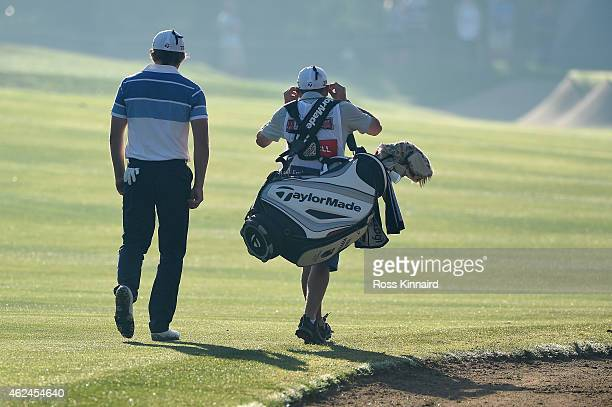 Eddie Pepperell of England on the par five 10th hole during the first round of the Omega Dubai Desert Classic at the Emirates Golf Club on January 29...
