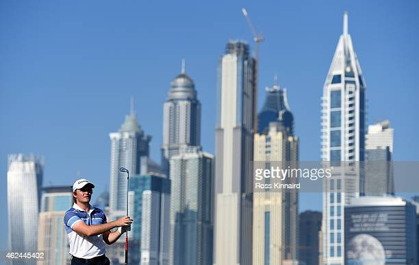 Eddie Pepperell of England on the par five 13th hole during the first round of the Omega Dubai Desert Classic at the Emirates Golf Club on January 29...
