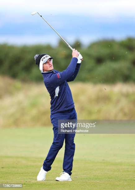 Eddie Pepperell of England pitches onto the 12th green during Day Three of the Scottish Championship presented by AXA at Fairmont St Andrews on...