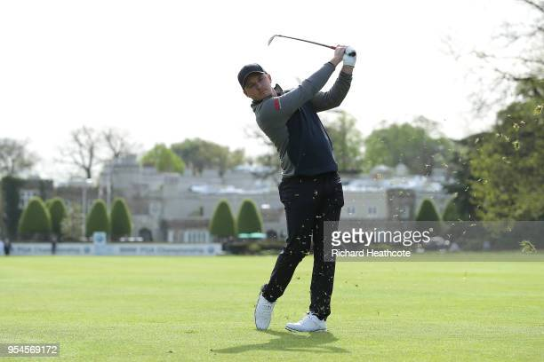 Eddie Pepperell of England plays a few holes on the west course during the media day for the BMW PGA Championship at The Wentworth Club on May 03...