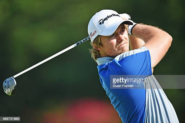 Eddie Pepperell of England plays a shot during the proam prior to the start of the Shenzhen International at Genzon Golf Club on April 15 2015 in...