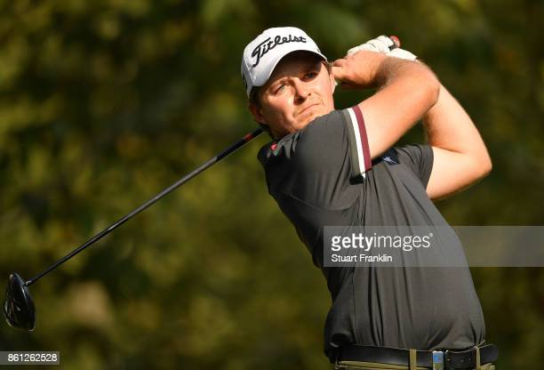 Eddie Pepperell of England plays a shot during the third round of the Italian Open at Golf Club Milano Parco Reale di Monza on October 14 2017 in...