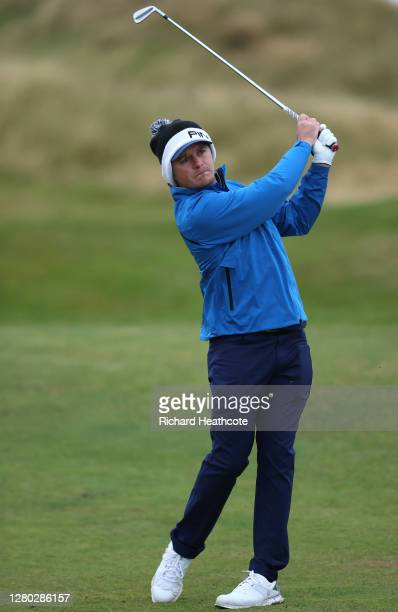 Eddie Pepperell of England plays his second shot on the 10th hole during the first round of the Scottish Championship presented by AXA at Fairmont St...