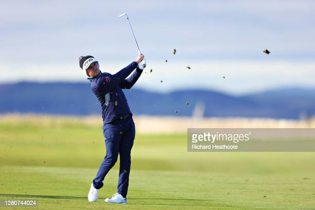Eddie Pepperell of England plays his second shot on the 14th hole during Day Three of the Scottish Championship presented by AXA at Fairmont St...