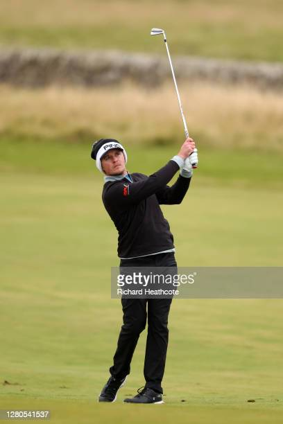 Eddie Pepperell of England plays his second shot on the 16th hole during Day Two of the Scottish Championship presented by AXA at Fairmont St Andrews...
