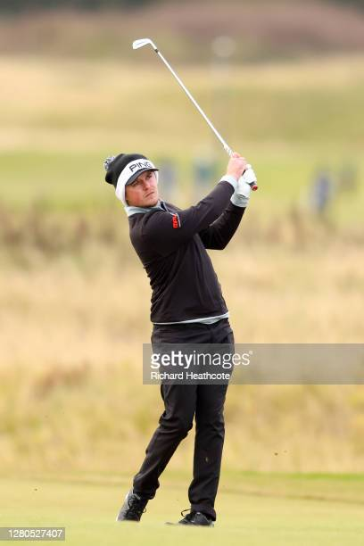Eddie Pepperell of England plays his second shot on the 9th hole during Day Two of the Scottish Championship presented by AXA at Fairmont St Andrews...