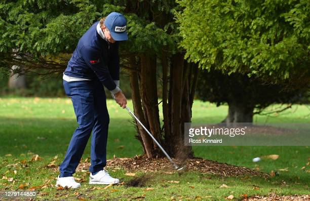 Eddie Pepperell of England plays his second shot on the first hole during Day One of the BMW PGA Championship at Wentworth Golf Club on October 08...