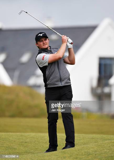 Eddie Pepperell of England plays his second shot on the seventeenth hole during Day Two of the Dubai Duty Free Irish Open at Lahinch Golf Club on...