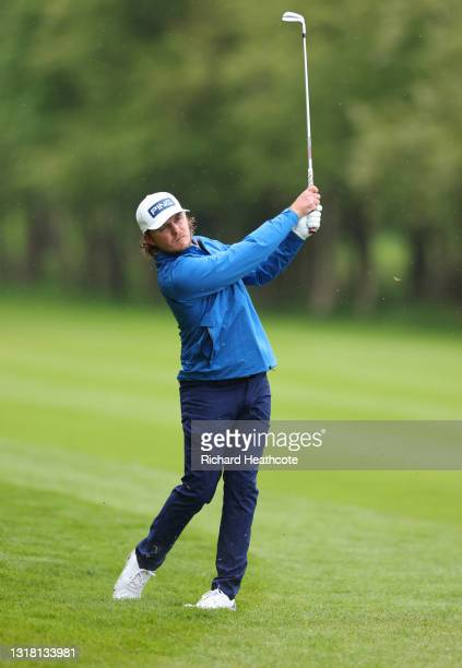 Eddie Pepperell of England plays his second shot on the third hole during the final round of The Betfred British Masters hosted by Danny Willett at...