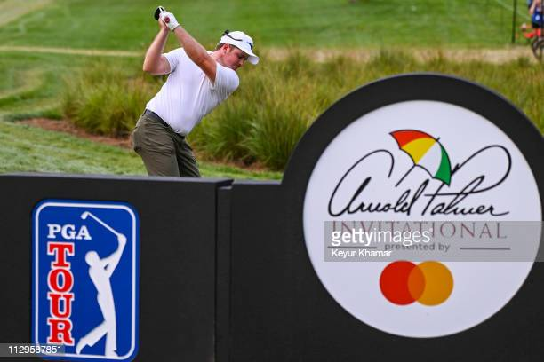 Eddie Pepperell of England plays his shot from the 18th tee during the third round of the Arnold Palmer Invitational presented by MasterCard at Bay...