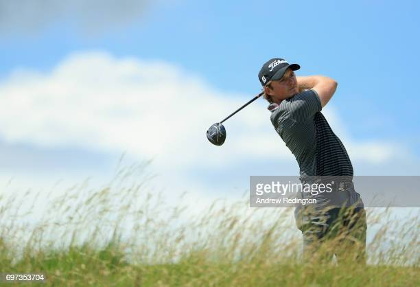 Eddie Pepperell of England plays his shot from the fifth tee during the final round of the 2017 US Open at Erin Hills on June 18 2017 in Hartford...