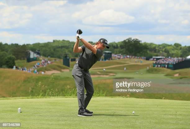 Eddie Pepperell of England plays his shot from the fourth tee during the final round of the 2017 US Open at Erin Hills on June 18 2017 in Hartford...