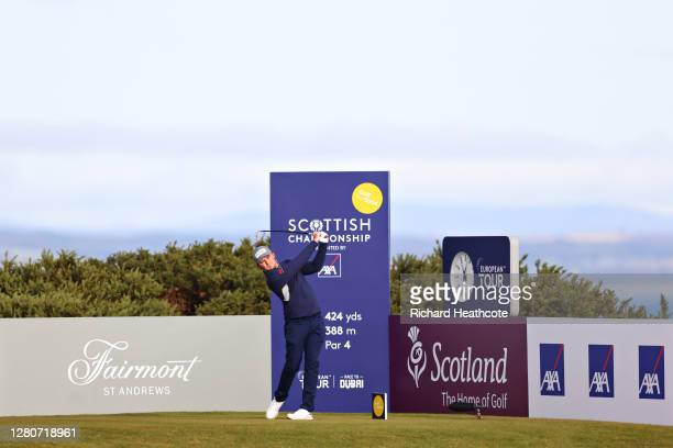 Eddie Pepperell of England plays his shot off the 1st tee during Day Three of the Scottish Championship presented by AXA at Fairmont St Andrews on...