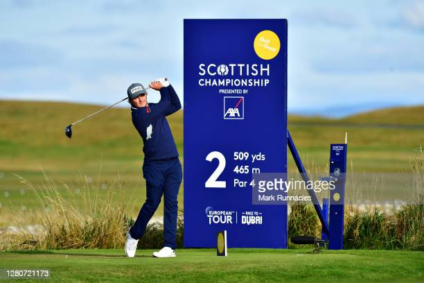 Eddie Pepperell of England plays his shot off the 2nd tee during Day Three of the Scottish Championship presented by AXA at Fairmont St Andrews on...