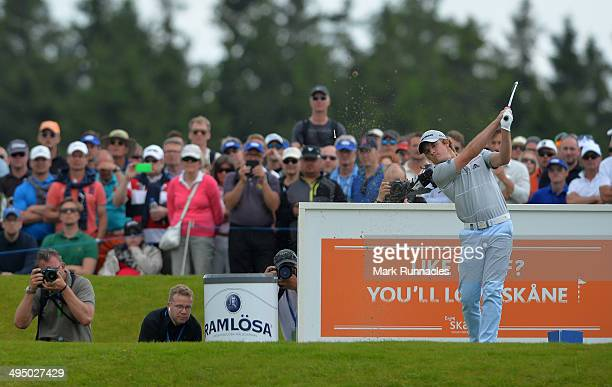 Eddie Pepperell of England plays his tee shot at the 4th hole during the Nordea Masters at the PGA Sweden National on June 1 2014 in Malmo Sweden