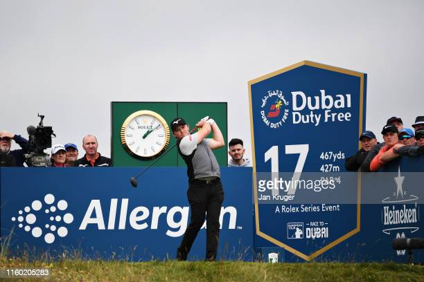 Eddie Pepperell of England plays his tee shot on the seventeenth hole during Day Two of the Dubai Duty Free Irish Open at Lahinch Golf Club on July...