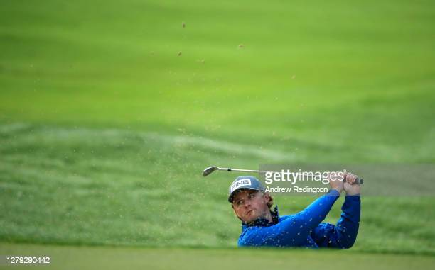 Eddie Pepperell of England plays his third shot on the 11th hole during Day 2 of the BMW PGA Championship at Wentworth Golf Club on October 09 2020...