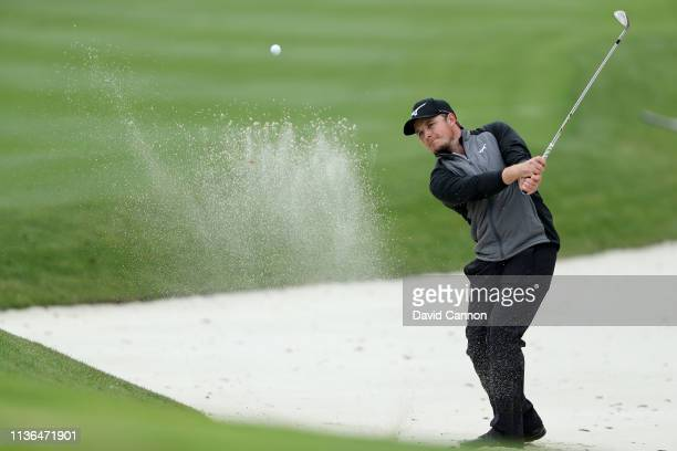 Eddie Pepperell of England plays his third shot on the par 4 14th hole during the final round of The Players Championship on the Stadium Course at...