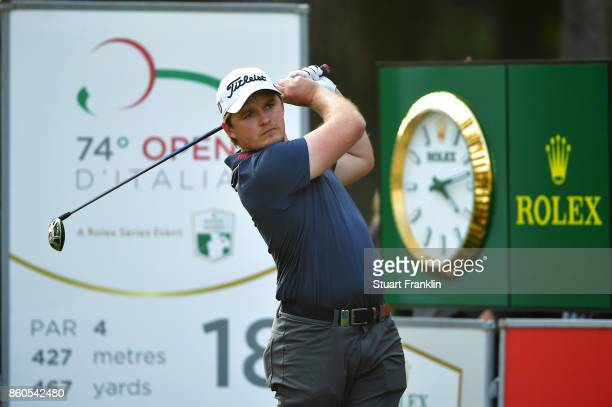 Eddie Pepperell of England plays of the tee on Day One of the Italian Open at Golf Club Milano Parco Reale di Monza on October 12 2017 in Monza Italy