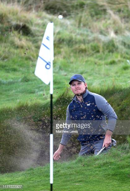 Eddie Pepperell of England plays their third shot on the 2nd hole during Day one of the Alfred Dunhill Links Championship at Carnoustie Golf Links on...