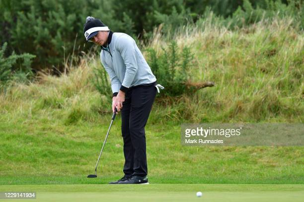 Eddie Pepperell of England putts on the 4th hole during Day Four of the Scottish Championship presented by AXA at Fairmont St Andrews on October 18...