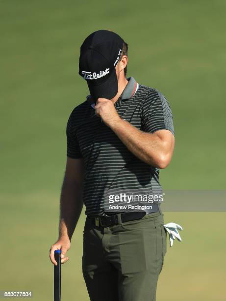 Eddie Pepperell of England reacts on the 18th green during day four of the Portugal Masters at Dom Pedro Victoria Golf Club on September 24 2017 in...