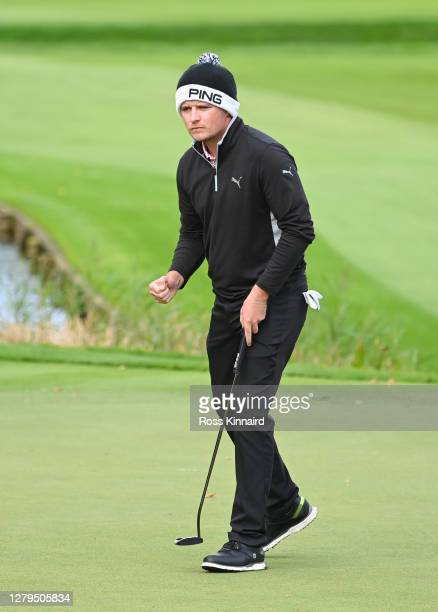 Eddie Pepperell of England reacts on the 18th green during Day Three of the BMW PGA Championship at Wentworth Golf Club on October 10 2020 in...