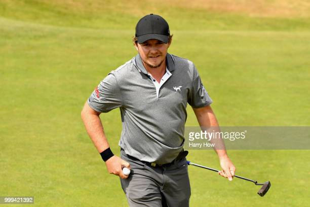 Eddie Pepperell of England reacts to a birdie putt on hole one during day four of the Aberdeen Standard Investments Scottish Open at Gullane Golf...