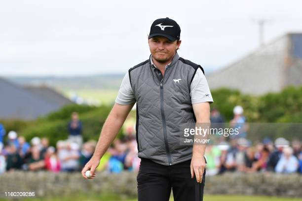 Eddie Pepperell of England reacts to his putt on the eighteenth hole during Day Two of the Dubai Duty Free Irish Open at Lahinch Golf Club on July 05...