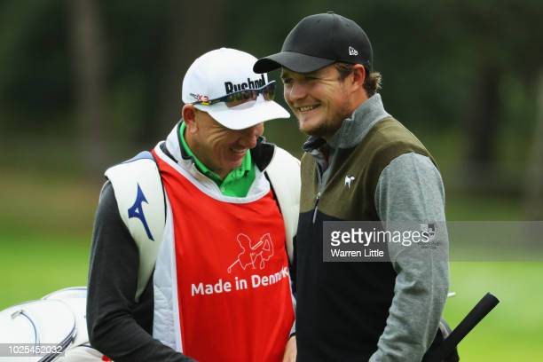 Eddie Pepperell of England shares a joke with his caddie on the 11th green during day two of the Made in Denmark played at the Silkeborg Ry Golf Club...