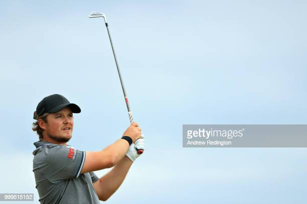 Eddie Pepperell of England takes his tee shot on hole seventeen during day four of the Aberdeen Standard Investments Scottish Open at Gullane Golf...