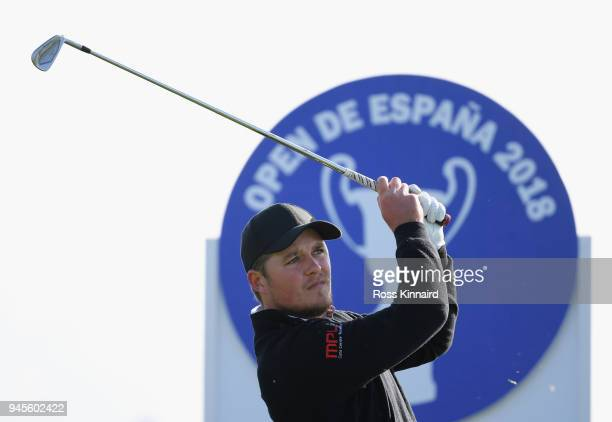 Eddie Pepperell of England tees of the 14th hole during day two of the Open de Espana at Centro Nacional de Golf on April 13 2018 in Madrid Spain