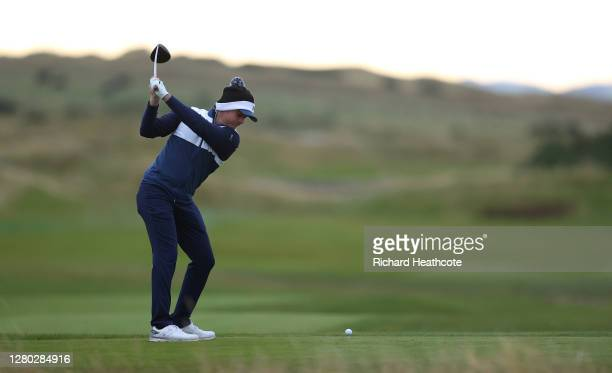 Eddie Pepperell of England tees off on the 10th hole during the first round of the Scottish Championship presented by AXA at Fairmont St Andrews on...
