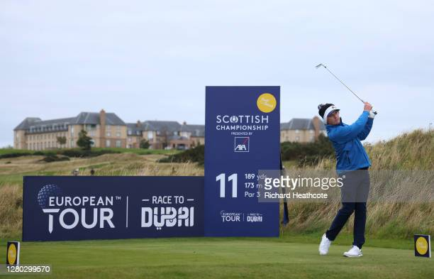 Eddie Pepperell of England tees off on the 15th hole during the first round of the Scottish Championship presented by AXA at Fairmont St Andrews on...