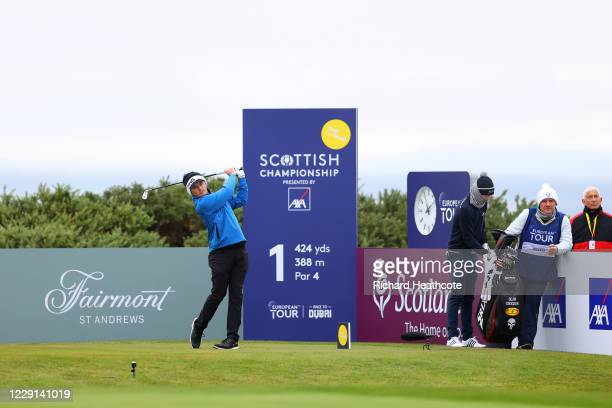 Eddie Pepperell of England tees off on the 1st hole during Day Four of the Scottish Championship presented by AXA at Fairmont St Andrews on October...