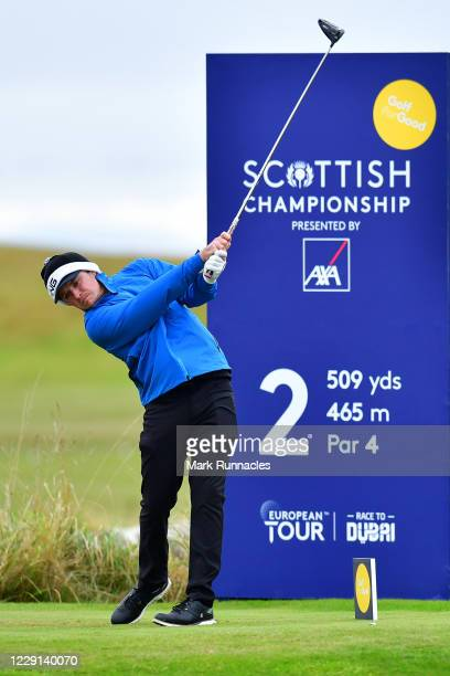 Eddie Pepperell of England tees off on the 2nd hole during Day Four of the Scottish Championship presented by AXA at Fairmont St Andrews on October...