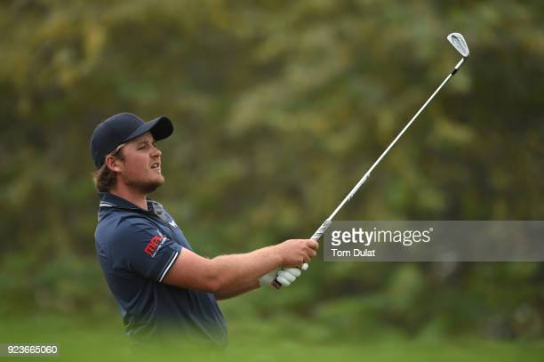 Eddie Pepperell of England tees off on the 8th hole during the third round of the Commercial Bank Qatar Masters at Doha Golf Club on February 24 2018...