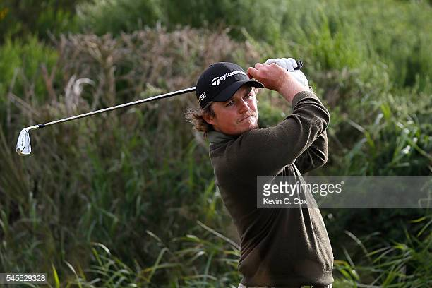 Eddie Pepperell of England tees off on the 9th hole during the second round of the AAM Scottish Open at Castle Stuart Golf Links on July 8 2016 in...