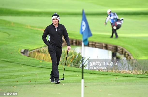 Eddie Pepperell of England walks onto the 18th green during Day Three of the BMW PGA Championship at Wentworth Golf Club on October 10 2020 in...