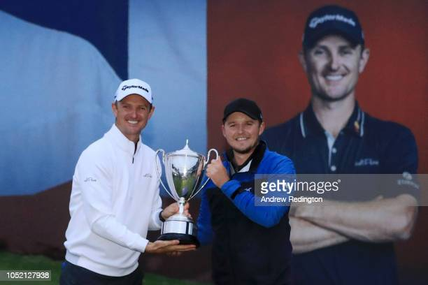 Eddie Pepperell of England winner of the tournament pose for a photo with host Justin Rose of England during day four of Sky Sports British Masters...