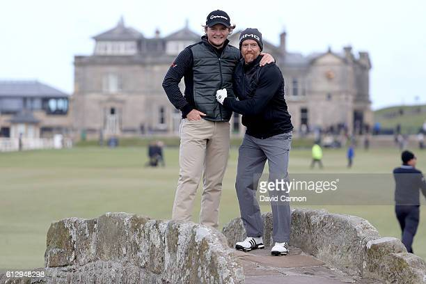 Eddie Pepperell of England with his amateur partner Dave Farrell of the United States the bass guitarist from the rock band Linkin Park pose on the...