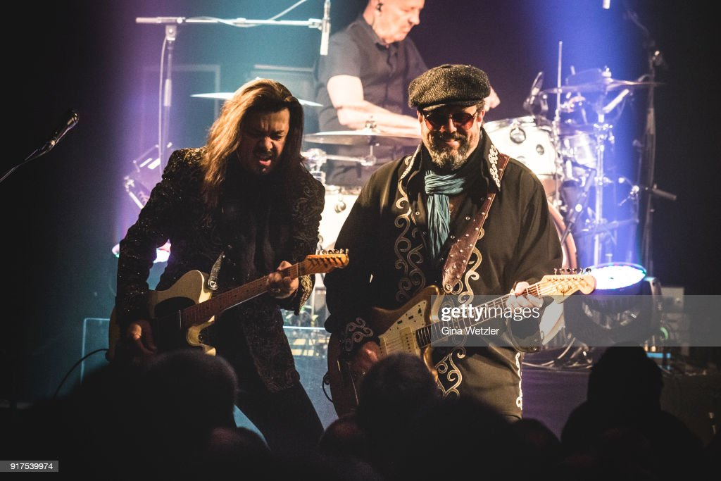 Eddie Perez and Raul Malo of The Mavericks perform live on stage during a concert at the Heimathafen Neukoelln on February 12, 2018 in Berlin, Germany.
