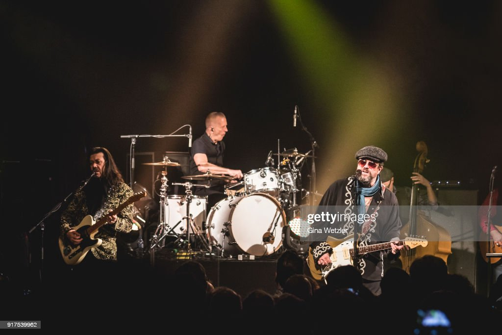 Eddie Perez, Paul Deakin and Raul Malo of The Mavericks perform live on stage during a concert at the Heimathafen Neukoelln on February 12, 2018 in Berlin, Germany.