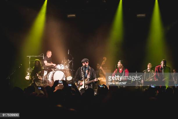 Eddie Perez Paul Deakin Raul Malo and Jerry Dale McFadden of The Mavericks perform live on stage during a concert at the Heimathafen Neukoelln on...