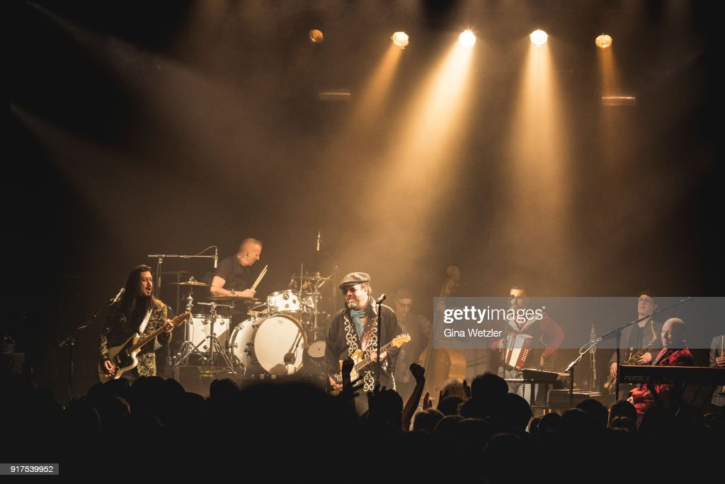 Eddie Perez, Paul Deakin, Raul Malo and Jerry Dale McFadden of The Mavericks perform live on stage during a concert at the Heimathafen Neukoelln on February 12, 2018 in Berlin, Germany.