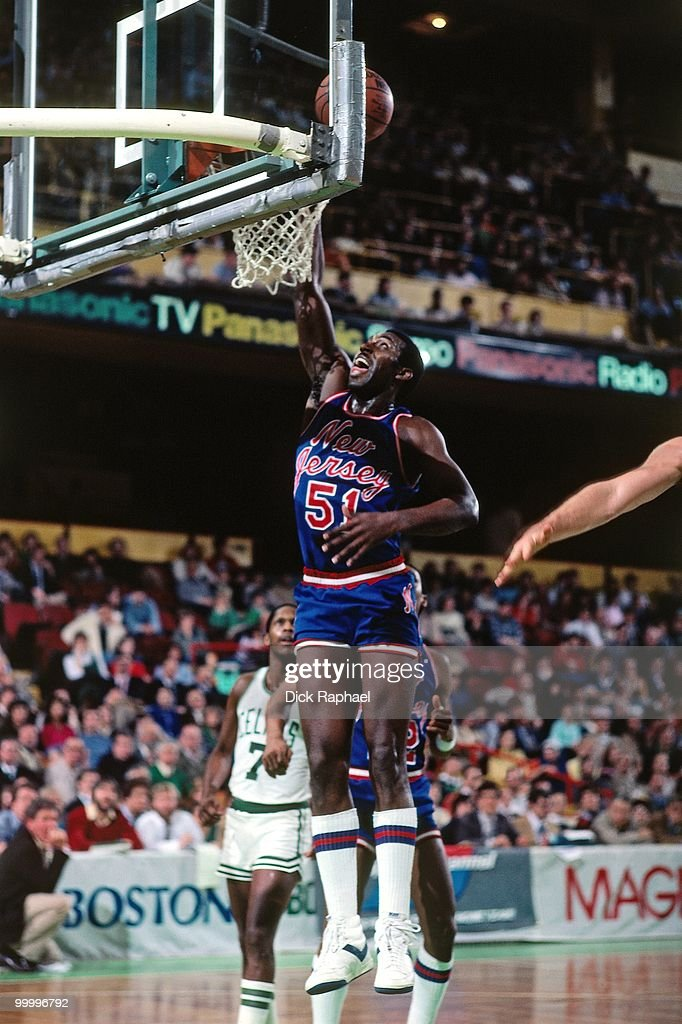 Eddie Phillips #21 of the New Jersey Nets shoots against the Boston Celtics during a game played in 1983 at the Boston Garden in Boston, Massachusetts.