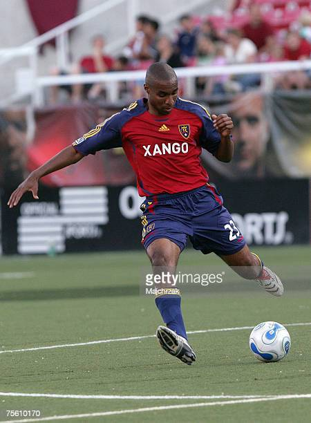 Eddie Pope of the Real Salt Lake kicks the ball against the Colorado Rapids on April 30 2007 at in Salt Lake City UT