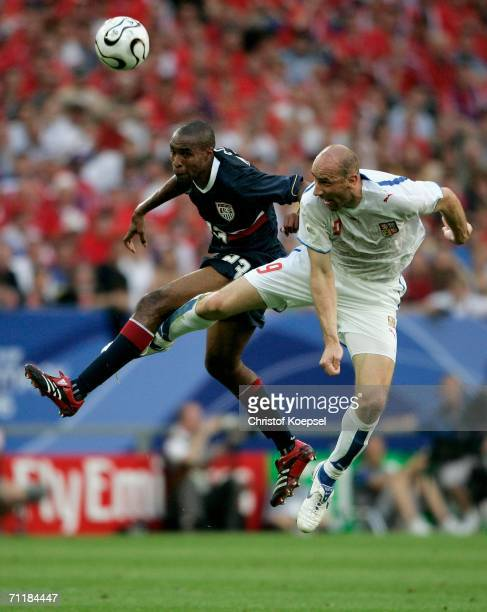 Eddie Pope of USA challenges in the air with Jan Koller of Czech Republic during the FIFA World Cup Germany 2006 Group E match between USA and Czech...